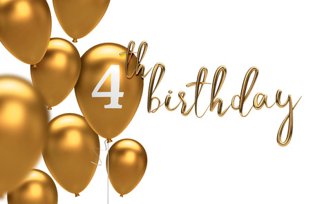Gold Happy 4th Birthday Balloon Greeting Background 3D Rendering Stock Photo
