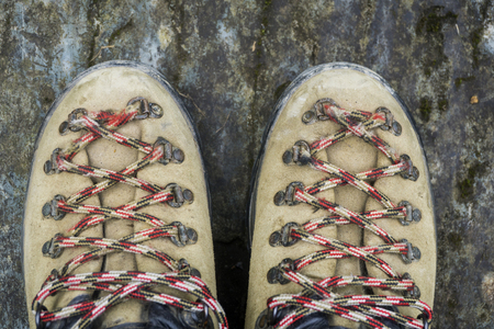 A pair of adventure walking boots