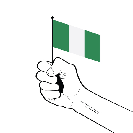Clenched fist raised in the air holding the national flag of Nigeria