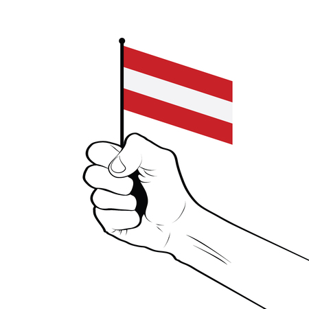 Clenched fist raised in the air holding the national flag of Austria
