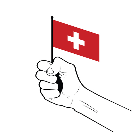 Clenched fist raised in the air holding the national flag of Switzerland