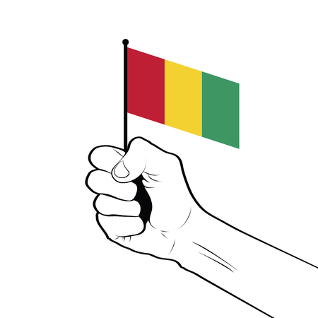 Clenched fist raised in the air holding the national flag of Guinea