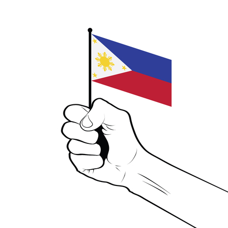 Clenched fist raised in the air holding the national flag of Philippines Vectores