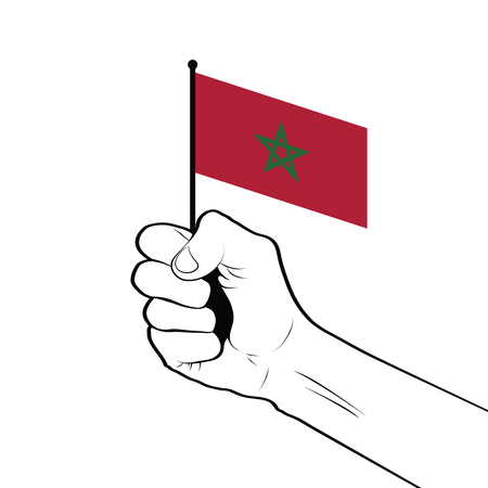 Clenched fist raised in the air holding the national flag of Morocco 向量圖像