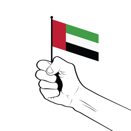 Clenched fist raised in the air holding the national flag of United Arab Emirates