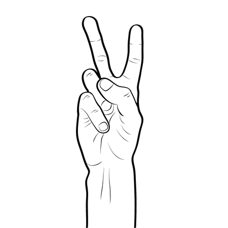 Peace sign hand gesture line art outline