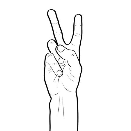 Signo de la paz mano gesto línea arte contorno