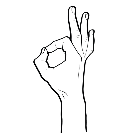Okay hand gesture line art outline