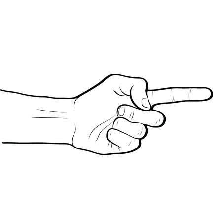 Pointing direction hand gesture line art outline