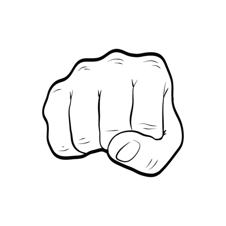 Fist punch hand gesture line art outline Banco de Imagens