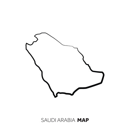 Saudi Arabia vector country map outline. Black line on white background