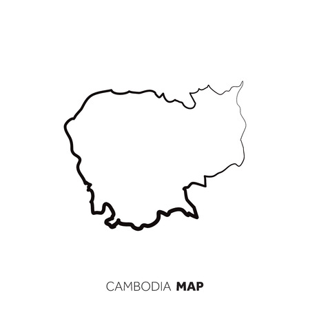 Cambodia vector country map outline. Black line on white background