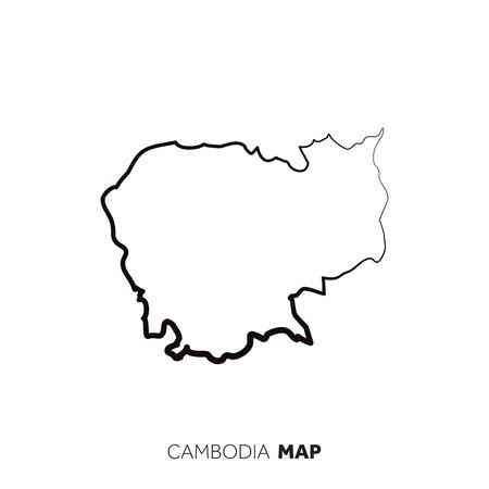 Contour de carte de pays de vecteur de Cambodge. Ligne noire sur fond blanc