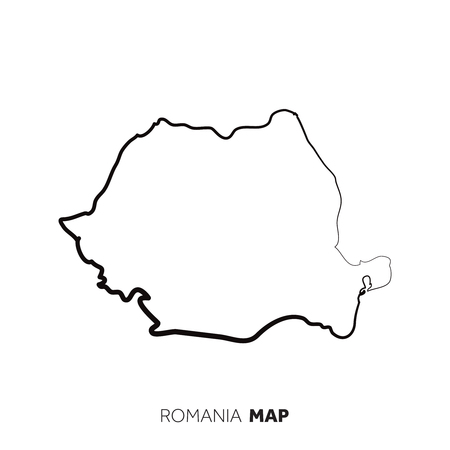 Romania vector country map outline. Black line on white background