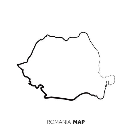 Rumänien Vektorlandkarte Umriss. Schwarze Linie auf weißem Hintergrund