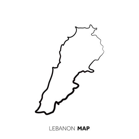 Contour de carte de pays de vecteur du Liban. Ligne noire sur fond blanc