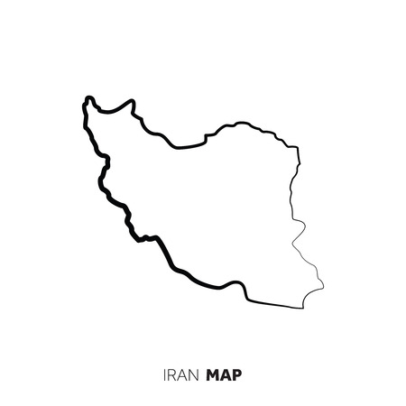 Iran vector country map outline. Black line on white background Illustration