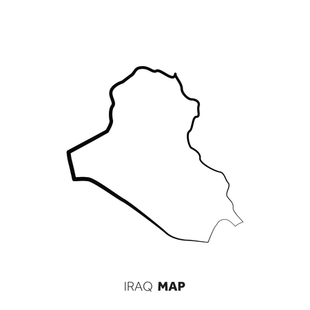 Iraq vector country map outline. Black line on white background