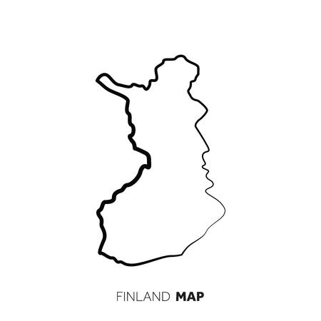 Finnland Vektor Landkarte Umriss. Schwarze Linie auf weißem Hintergrund