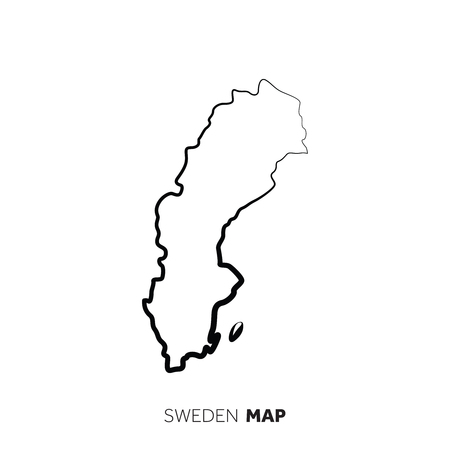 Sweden vector country map outline. Black line on white background