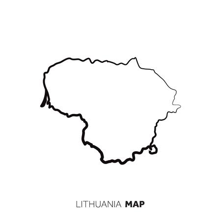 Litauen Vektorlandkarte Umriss. Schwarze Linie auf weißem Hintergrund