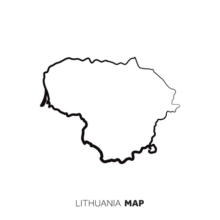 Lithuania vector country map outline. Black line on white background