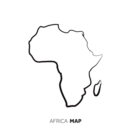 Africa vector country map outline. Black line on white background