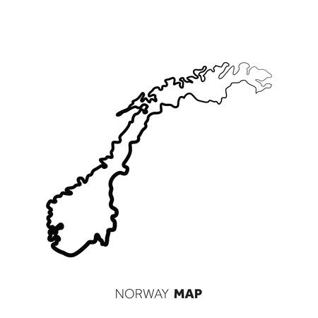 Norwegen Vektorlandkarte Umriss. Schwarze Linie auf weißem Hintergrund