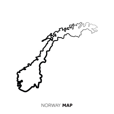 Norway vector country map outline. Black line on white background