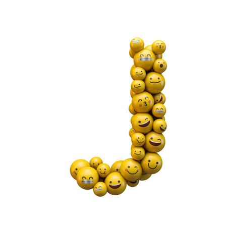 Letter J emoji character font. 3D Rendering