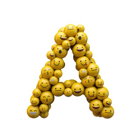 Letter A emoji character font. 3D Rendering Stock Photo