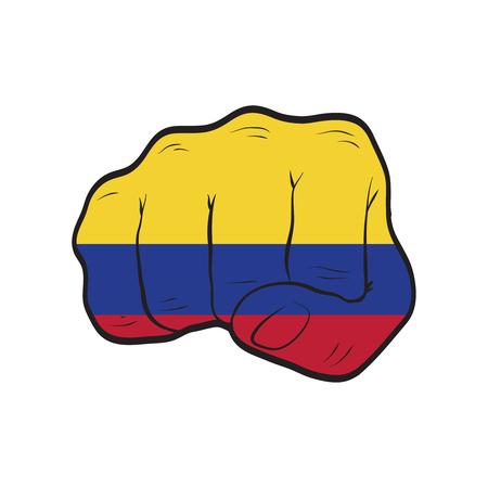 Drapeau de la Colombie sur un poing fermé. Force, puissance, concept de protestation