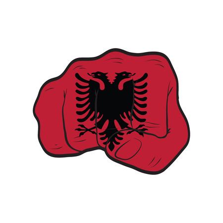 Albania flag on a clenched fist. Strength, Power, Protest concept