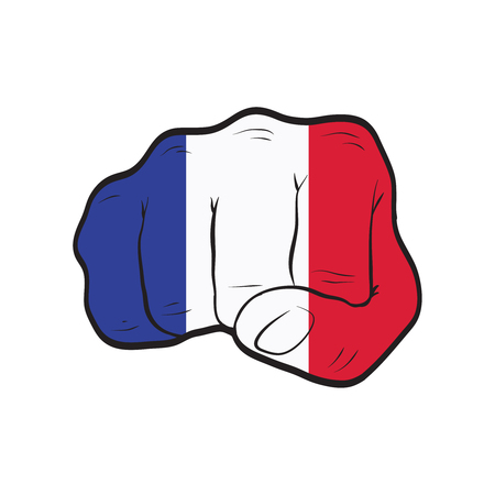 France flag on a clenched fist. Strength, Power, Protest concept