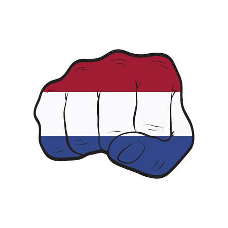 Netherlands flag on a clenched fist. Strength, Power, Protest concept