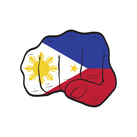 Philippines flag on a clenched fist. Strength, Power, Protest concept