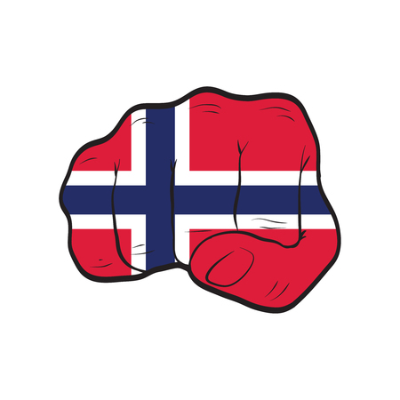 Norway flag on a clenched fist. Strength, Power, Protest concept