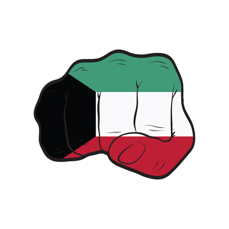 Kuwait flag on a clenched fist. Strength, Power, Protest concept