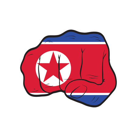 North Korea flag on a clenched fist. Strength, Power, Protest concept