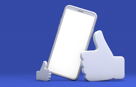 Black smartphone screen with thumbs up symbol. 3D Rendering