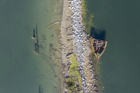 Aerial view of shipwreaks near Royston on Vancouver Island, Canada