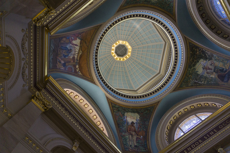 VICTORIA, CANADA - SEPTEMBER 26th 2018: Interior of the ornate dome of the British Colombia Parliment building.