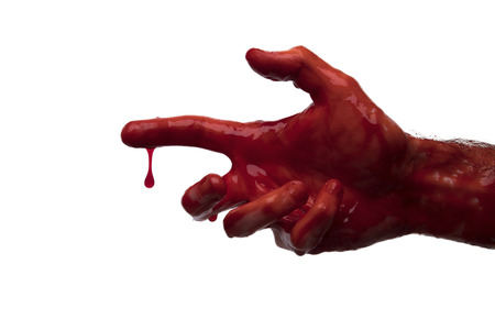 Bloody hand against a light background. halloween horror concept Imagens