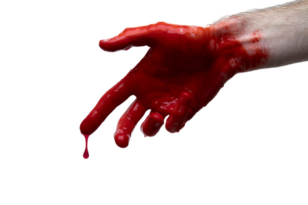 Bloody hand against a light background. halloween horror concept Stock Photo