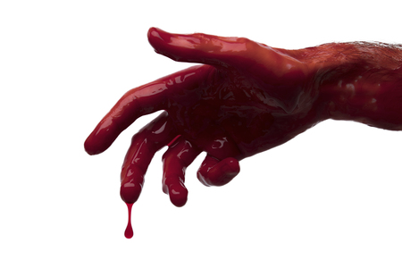 Bloody hand against a light background. halloween horror concept