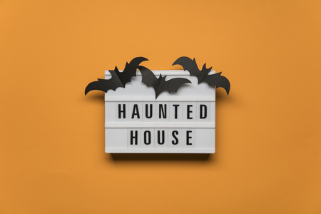 Haunted House Halloween lightbox message with black scary bats