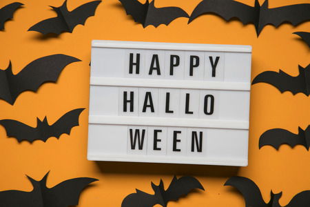 Happy Halloween Lightbox Message With Black Scary Bats Fotos ...