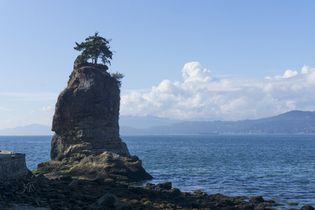 Siwash Rock in Stanley Park, Vancouver Stock Photo
