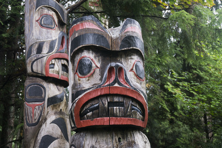 VANCOUVER, CANADA - SEPTEMBER 11th 2018: First Nations totem poles in Capiliano park, Vancouver, Canada