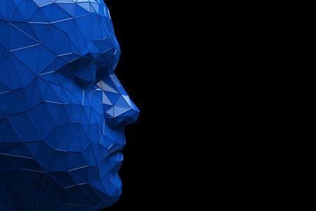 Artificial Intelligence concept. Human head made fom connected lines. 3D Rendering